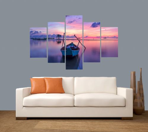 Five Panel Split Canvas Framed Prints - Waiting to Catch